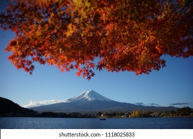 In autumn ,old photograper wait for shooting fuji mountain photo , maple leaf , kawaguchiko lake