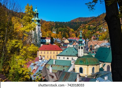 Autumn in old town with historical buildings in Banska Stiavnica, Slovakia, UNESCO
