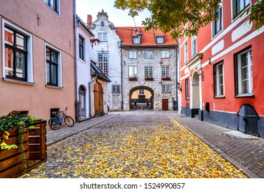 Autumn on medieval street in old Riga. The city is capital of Latvia that is well known to be a very popular tourism destination in the Baltic region