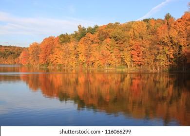 Autumn on New England lake