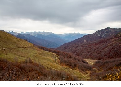 Autumn on top of a mountain pass. Greater Caucasus Mountains - mountains in Abkhazia. Solitude, tranquility, autumn landscape, forest and red trees, beautiful background, bright colors of autumn