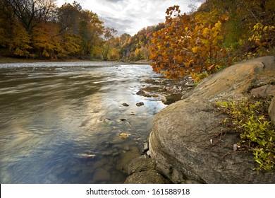 Autumn on the Vermilion River at Matthiessen State Park, LaSalle County, Illinois.