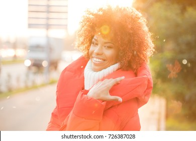 Autumn outdoor portrait of beautiful african american girl with afro hairstyle.