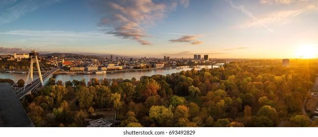 Autumn panorama of Bratislava, Slovakia capitol