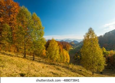 Autumn panorama in remote mountain area in Transylvania