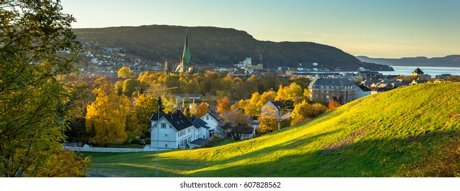 Autumn panorama of Trondheim. Norway.
