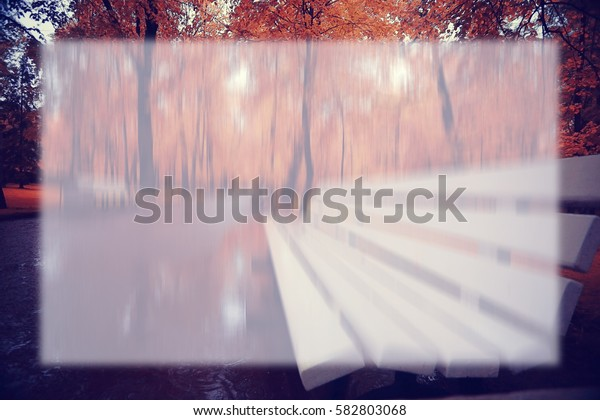 autumn park blurred background translucent frame for text