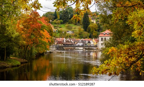 Autumn park in Czesky Krumlov, Czech republic Europe