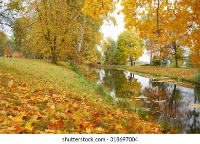Autumn park with golden leaves reflected in the river