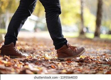 Autumn Park man walking along a path foliage