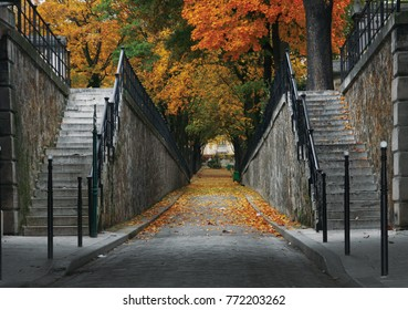 Autumn park with road scenic (perspective alley with two stone stairs and archway). Montmartre Cemetery. Paris, France