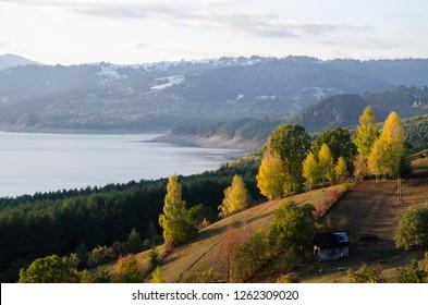 Autumn pastel on the banks of bicaz lake,romania