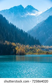 "Autumn photo after snowfall, mountain lake ""Issyk"" in Almaty region, Kazakhstan. October."