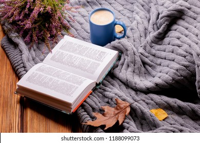 autumn photo in a cozy room with a warm blanket with a cup of coffee reading a fascinating book on a rainy day - Image