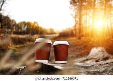autumn photo of desk with free space and coffee