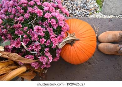 autumn photo featuring pumpkin, cornstalk, mums, and boots