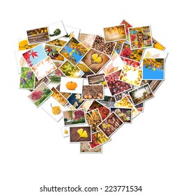 Autumn photos collage in the shape of heart isolated on white background