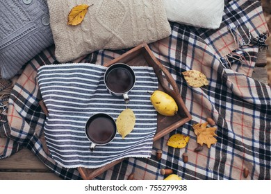 Autumn picnic in a forest near lake