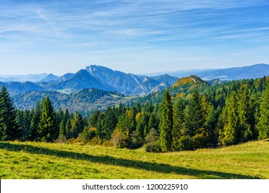 Autumn in Pieniny, Poland. Landscape of Polish mountains on a warm and sunny day.