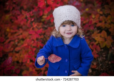 autumn portrait of beautiful baby girl in fairy red leaves forest