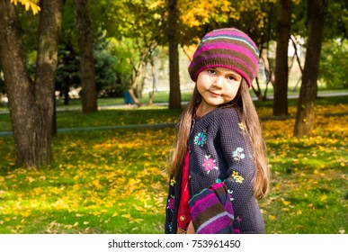 Autumn portrait of beautiful child. Happy little girl with leaves in the park in fall.