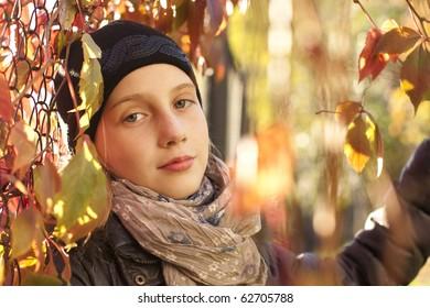 Autumn portrait of teen girl