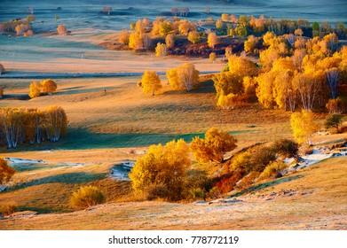 The autumn prairie sunrise scenic.