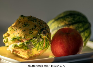 autumn pumpkin apple fruit on the table