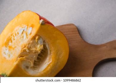 autumn pumpkin cut into a quarter