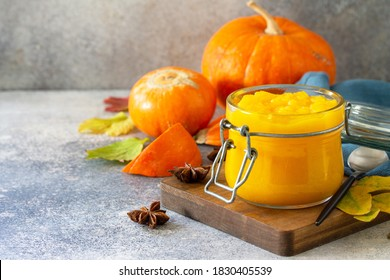 Autumn pumpkin meals for thanksgiving day. Pumpkin Puree on a slate background. Copy space. - Shutterstock ID 1830405539