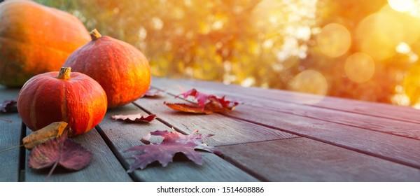 Herbstkürbis auf Holztisch; Thanksgiving-Feiertag-Hintergrund,