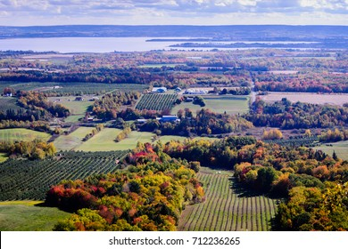 Autumn  red, orange, yellow landscape, colorful trees, top panoramic view, Annapolis Valley, Canada, Halifax, Nova Scotia