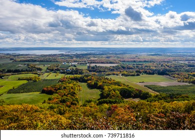 Autumn red, orange, yellow landscape, colorful trees and clouds , top panoramic view, Annapolis Valley, Canada, Halifax, Nova Scotia