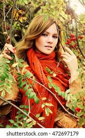 Autumn Redhead Woman Outdoors