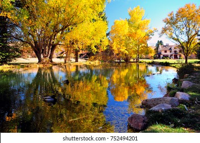 Autumn Reflection Pond at Rock ledge Ranch in Colorado Springs Colorado