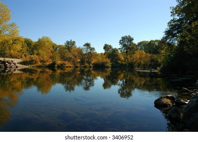 Autumn Reflection of Riparian Growth in Quiet Pool, Stanislaus River, Sierra Nevada, California