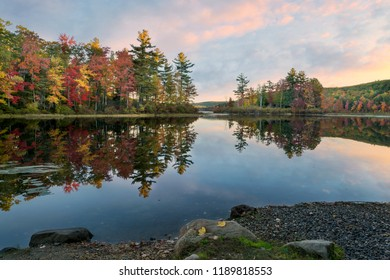 autumn reflections in a pond at sunrise