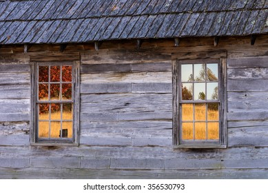 Autumn reflects in the windows of the old Brush Mountain Schoolhouse in the Cumberland Gap National Park.