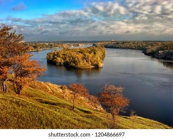 Autumn River with the island in Zaporozhye. Ukraine