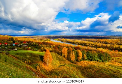 Autumn river valley village panoramic landscape