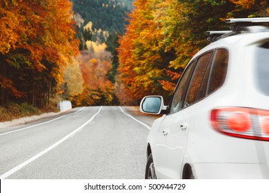 Autumn road among forest to the mountains. Fall travel, bad weather.