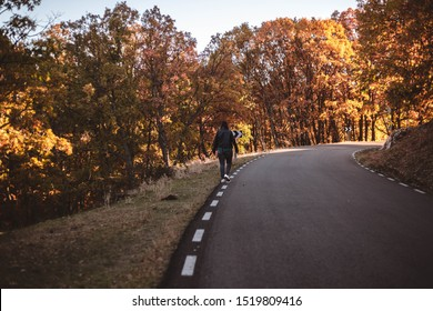 Autumn road in mountains. Young woman walking along asphalt road in colorful autumn beech and oaks forest