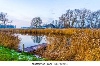 Autumn rural river pier landscape. Rural river pier scene. River wooden pier scene. Rural river pier view