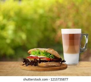 Autumn sandwich with coffee