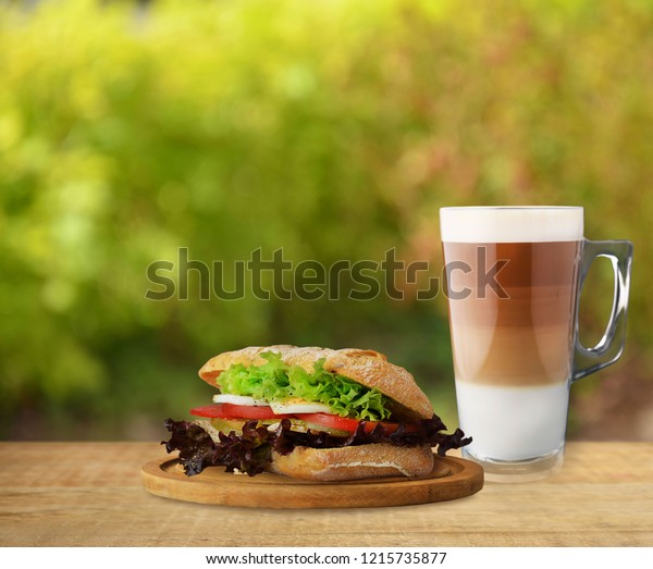 Autumn sandwich with coffee