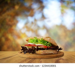 Autumn sandwich on wooden table