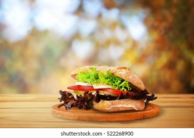 Autumn sandwich with vegetables on cutting board on wooden table.
