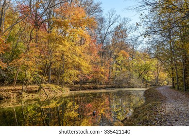 Autumn scene at the C&O Canal in Potomac, Maryland.