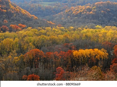 Autumn scene: Colorful trees and hills in bluff country along Mississippi River, Iowa