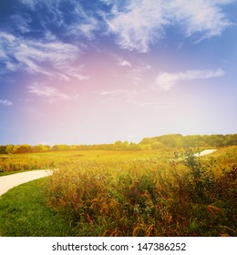 Autumn scene with field of dry grass and blue sky